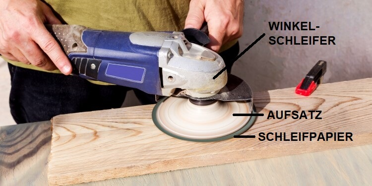 Winkelschleifer mit Schleifpapier für Holz