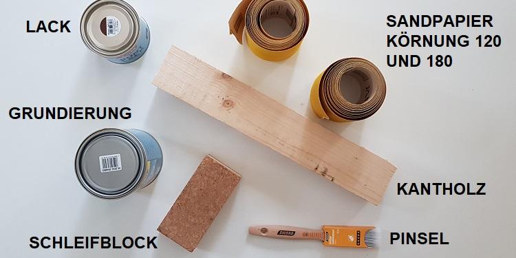 Benötigtes Material zum Lackieren von Holz